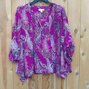 Purple Print Blouse